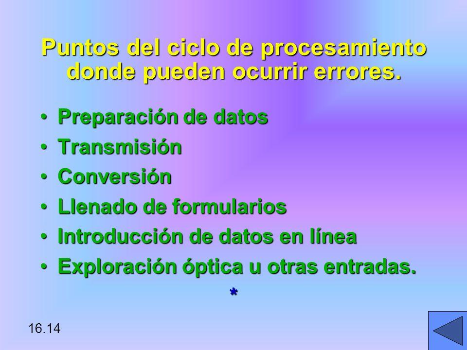 Puntos del ciclo de procesamiento donde pueden ocurrir errores.