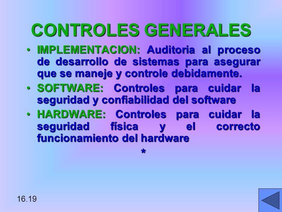 CONTROLES GENERALES IMPLEMENTACION: Auditoria al proceso de desarrollo de sistemas para asegurar que se maneje y controle debidamente.