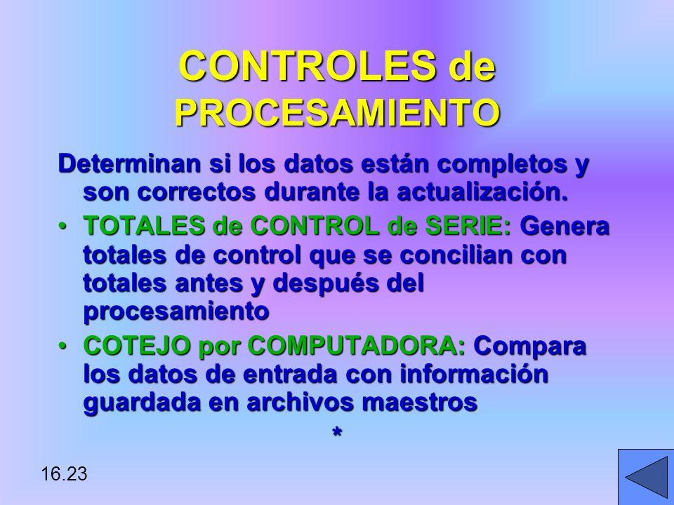 CONTROLES de PROCESAMIENTO