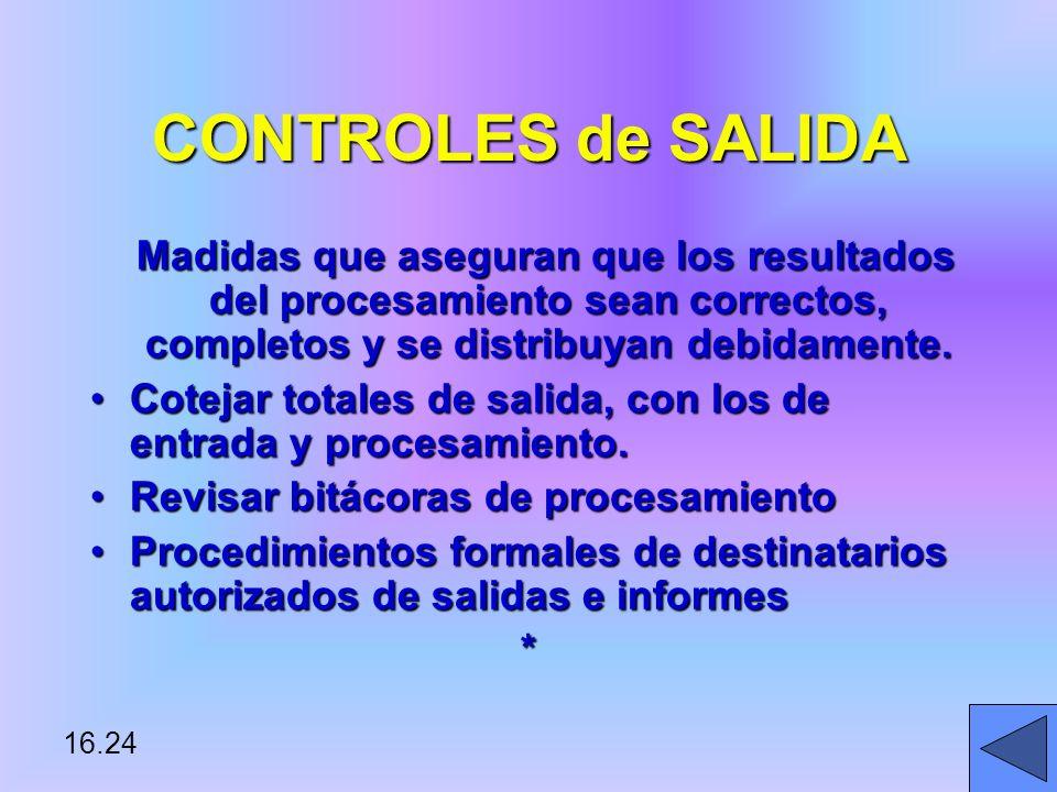 CONTROLES de SALIDA Madidas que aseguran que los resultados del procesamiento sean correctos, completos y se distribuyan debidamente.