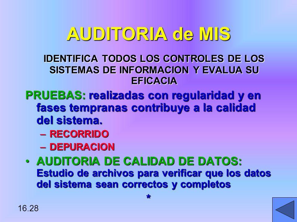 AUDITORIA de MIS IDENTIFICA TODOS LOS CONTROLES DE LOS SISTEMAS DE INFORMACION Y EVALUA SU EFICACIA.
