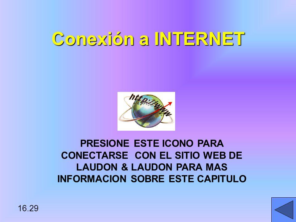 Conexión a INTERNET PRESIONE ESTE ICONO PARA CONECTARSE CON EL SITIO WEB DE LAUDON & LAUDON PARA MAS INFORMACION SOBRE ESTE CAPITULO.