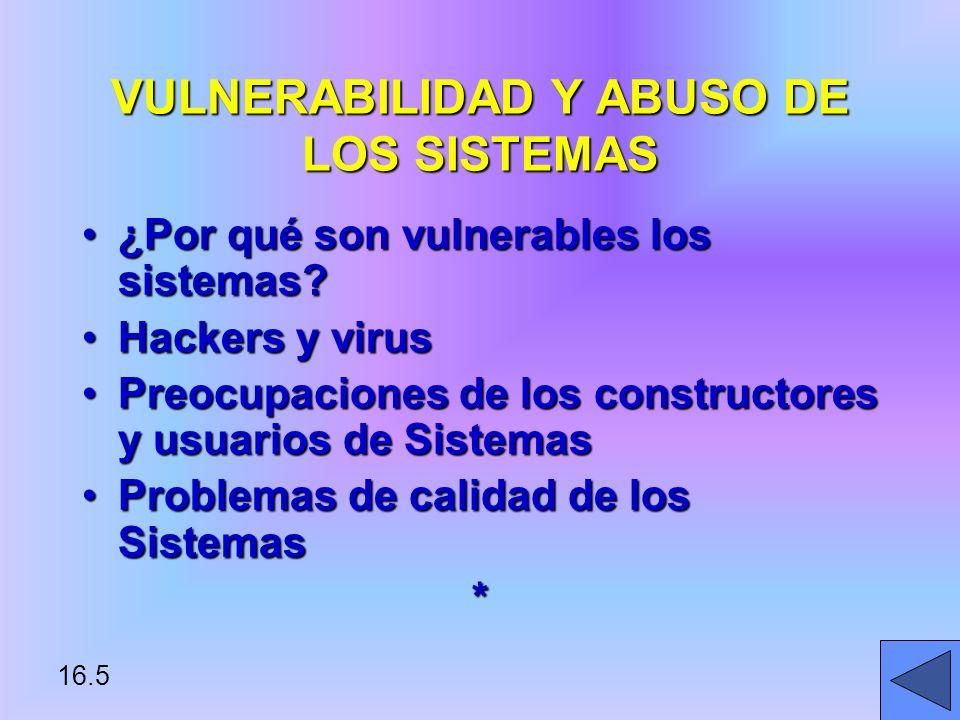VULNERABILIDAD Y ABUSO DE LOS SISTEMAS