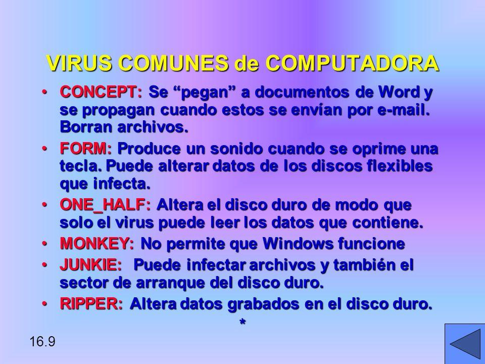 VIRUS COMUNES de COMPUTADORA