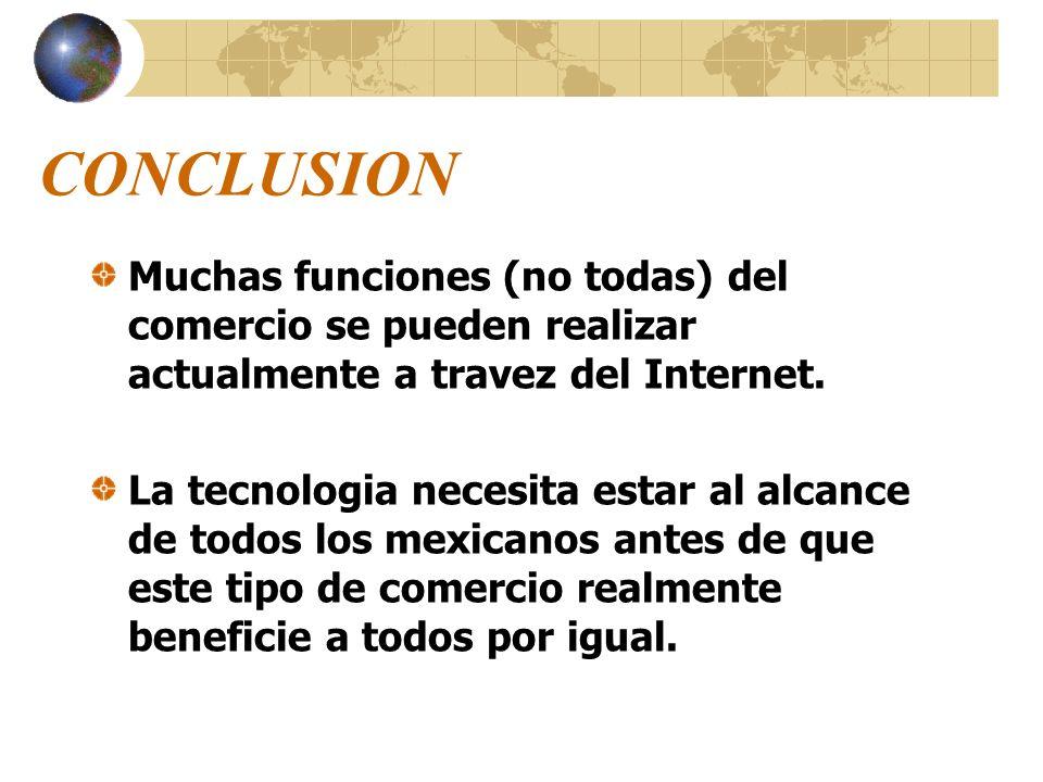 CONCLUSION Muchas funciones (no todas) del comercio se pueden realizar actualmente a travez del Internet.