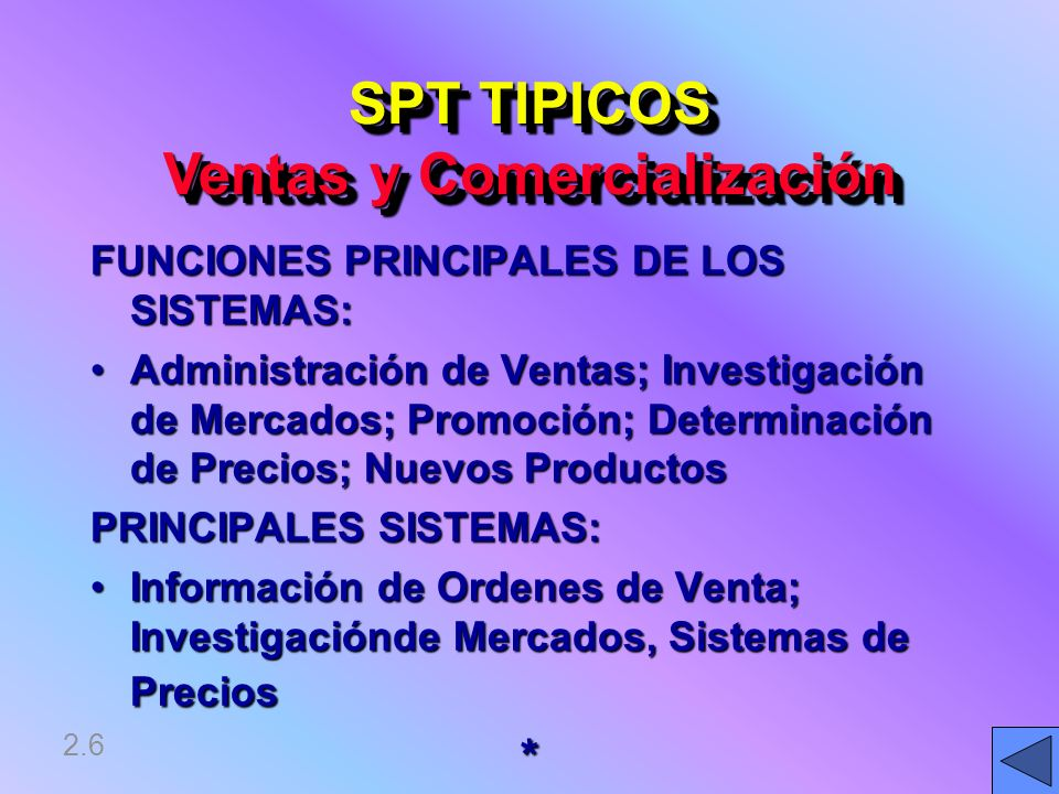SPT TIPICOS Ventas y Comercialización