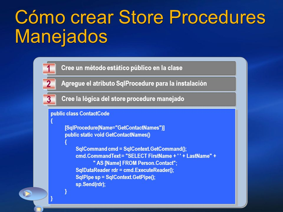 Cómo crear Store Procedures Manejados