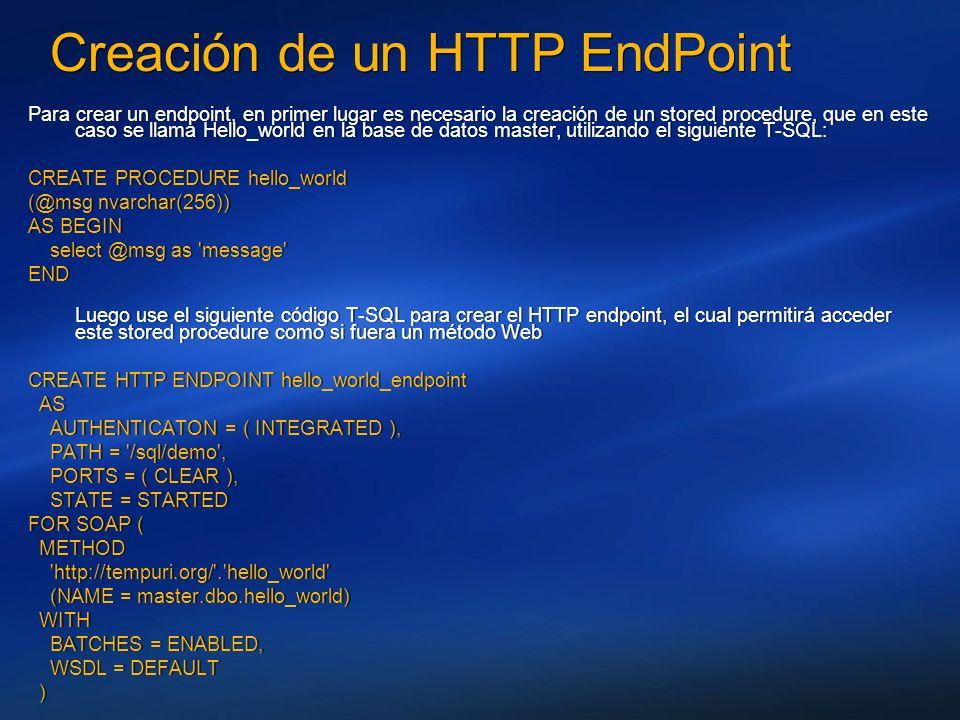 Creación de un HTTP EndPoint