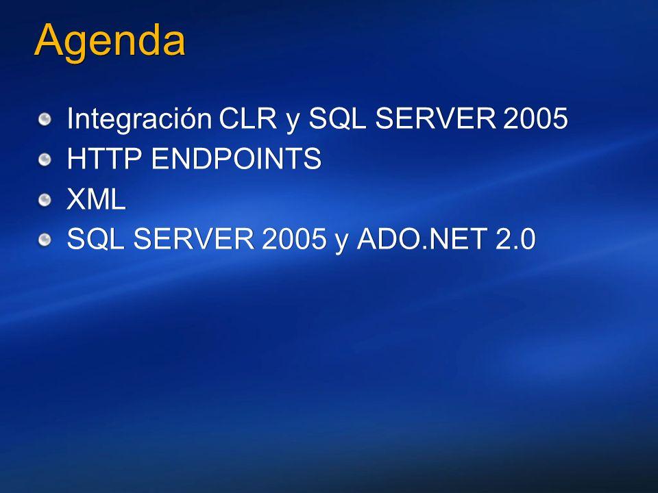 Agenda Integración CLR y SQL SERVER 2005 HTTP ENDPOINTS XML