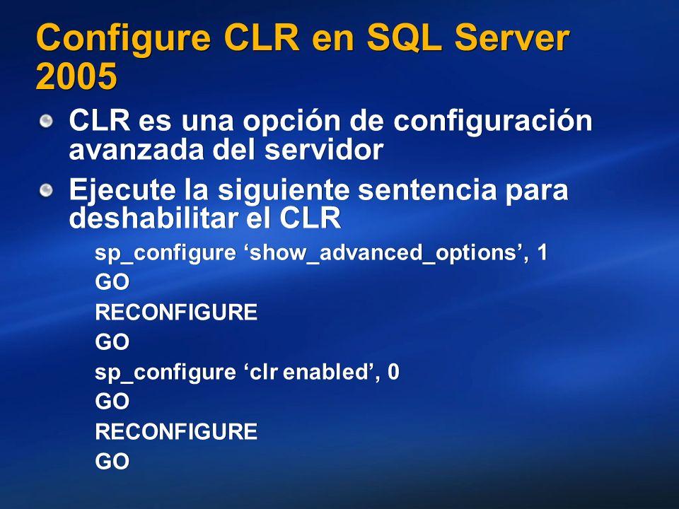 Configure CLR en SQL Server 2005