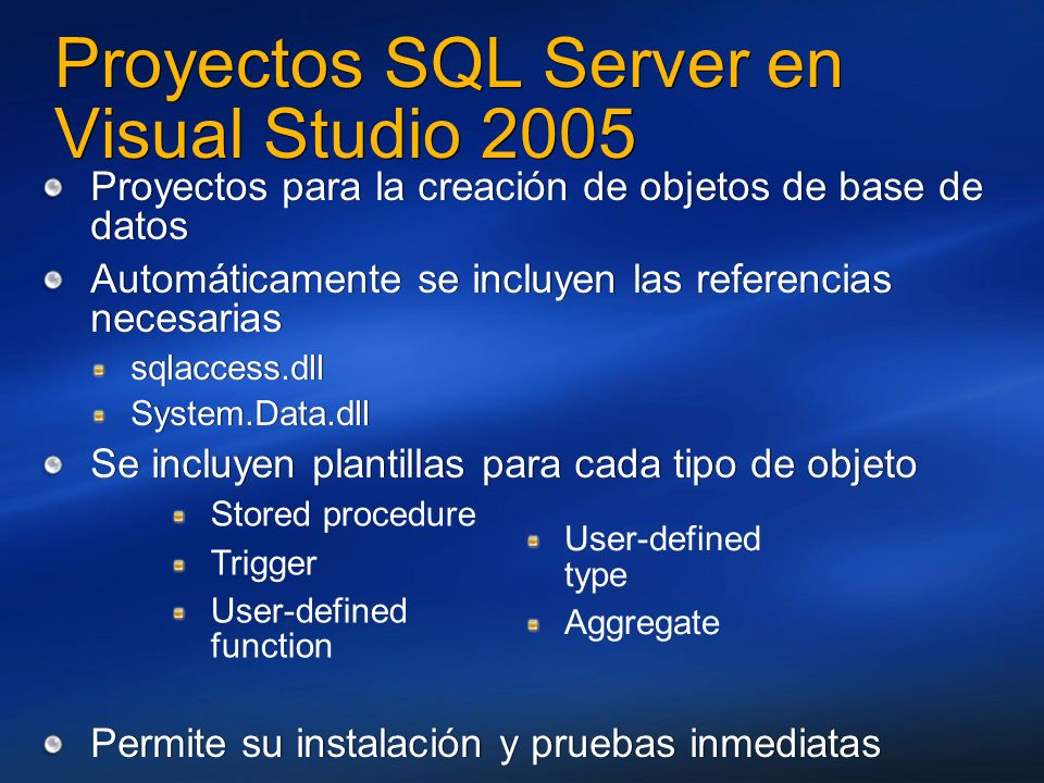 Proyectos SQL Server en Visual Studio 2005
