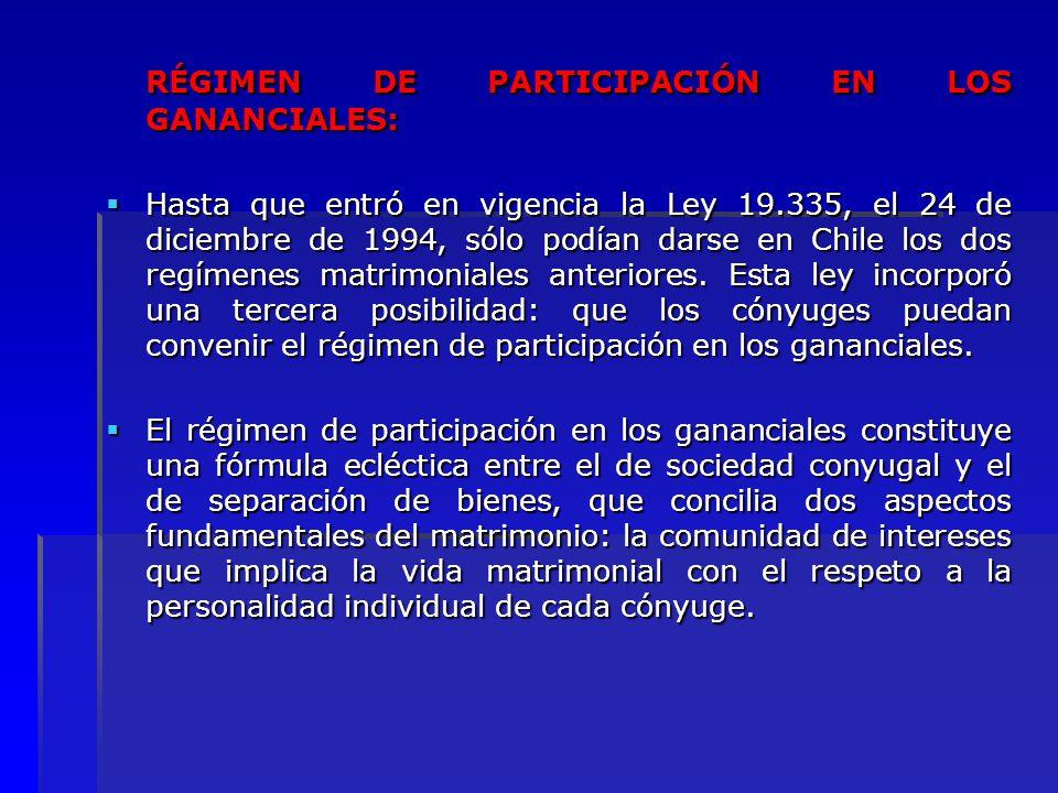 RÉGIMEN DE PARTICIPACIÓN EN LOS GANANCIALES: