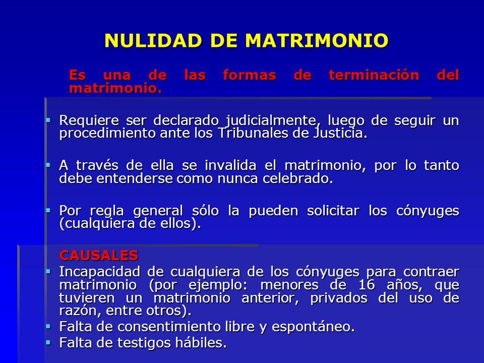 NULIDAD DE MATRIMONIO Es una de las formas de terminación del matrimonio.