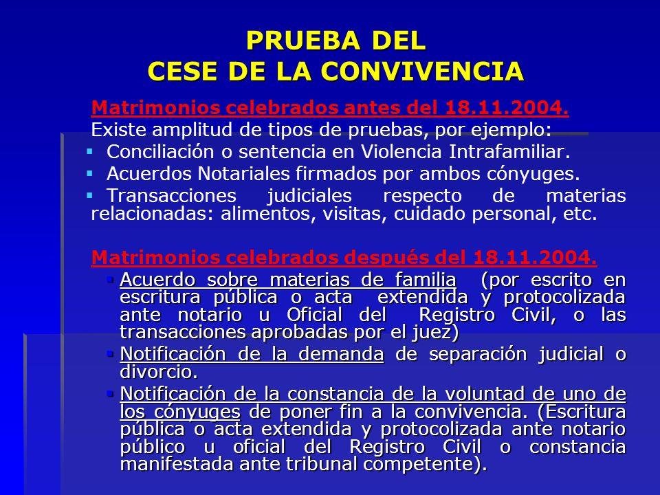PRUEBA DEL CESE DE LA CONVIVENCIA