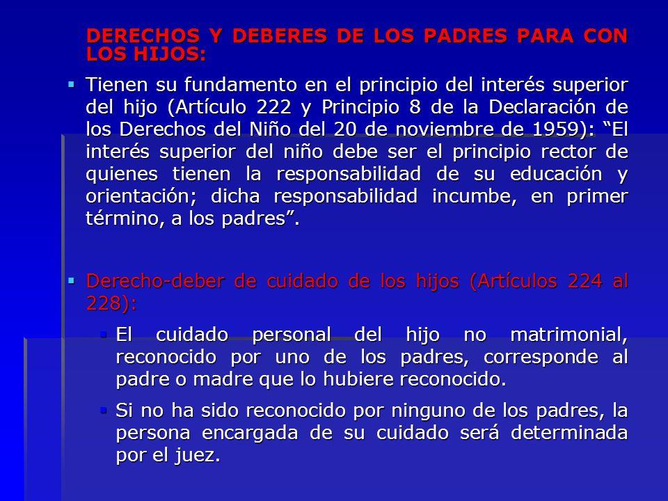 DERECHOS Y DEBERES DE LOS PADRES PARA CON LOS HIJOS: