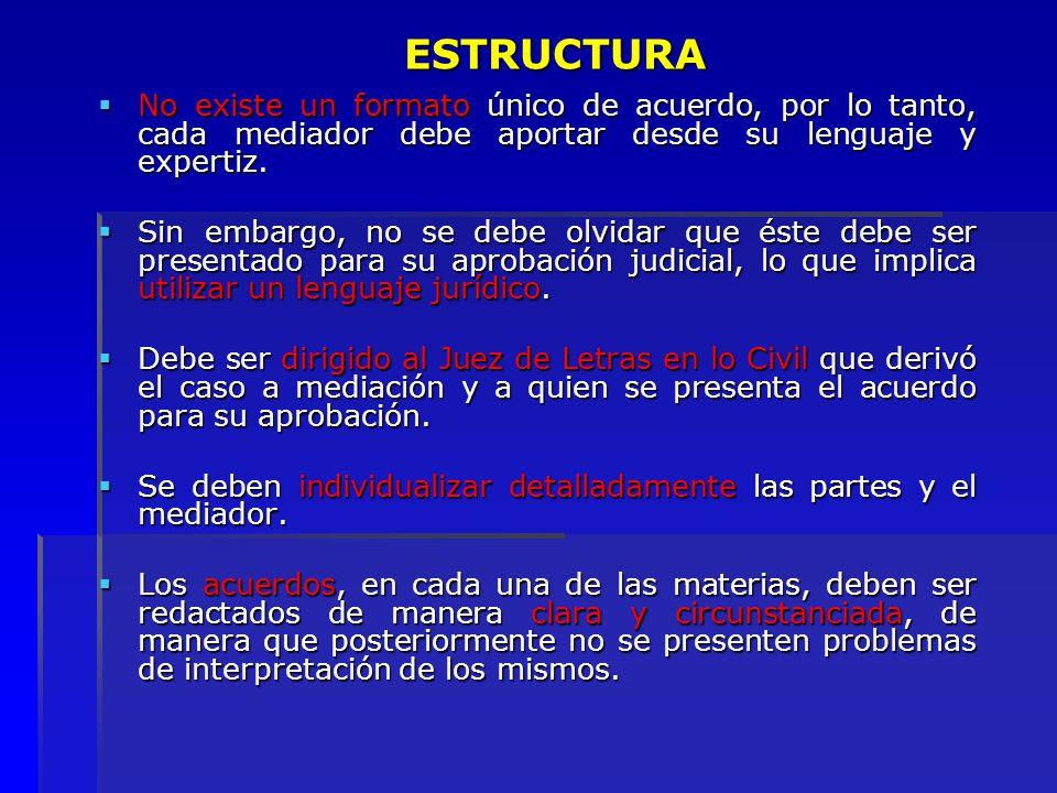 ESTRUCTURA No existe un formato único de acuerdo, por lo tanto, cada mediador debe aportar desde su lenguaje y expertiz.