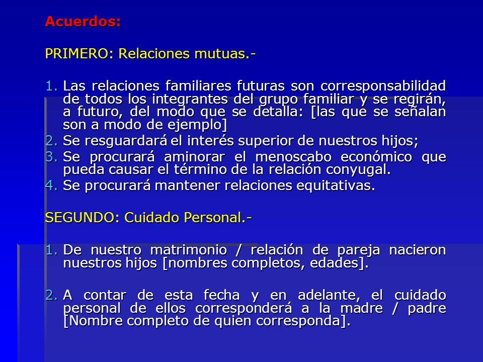 Acuerdos: PRIMERO: Relaciones mutuas.-