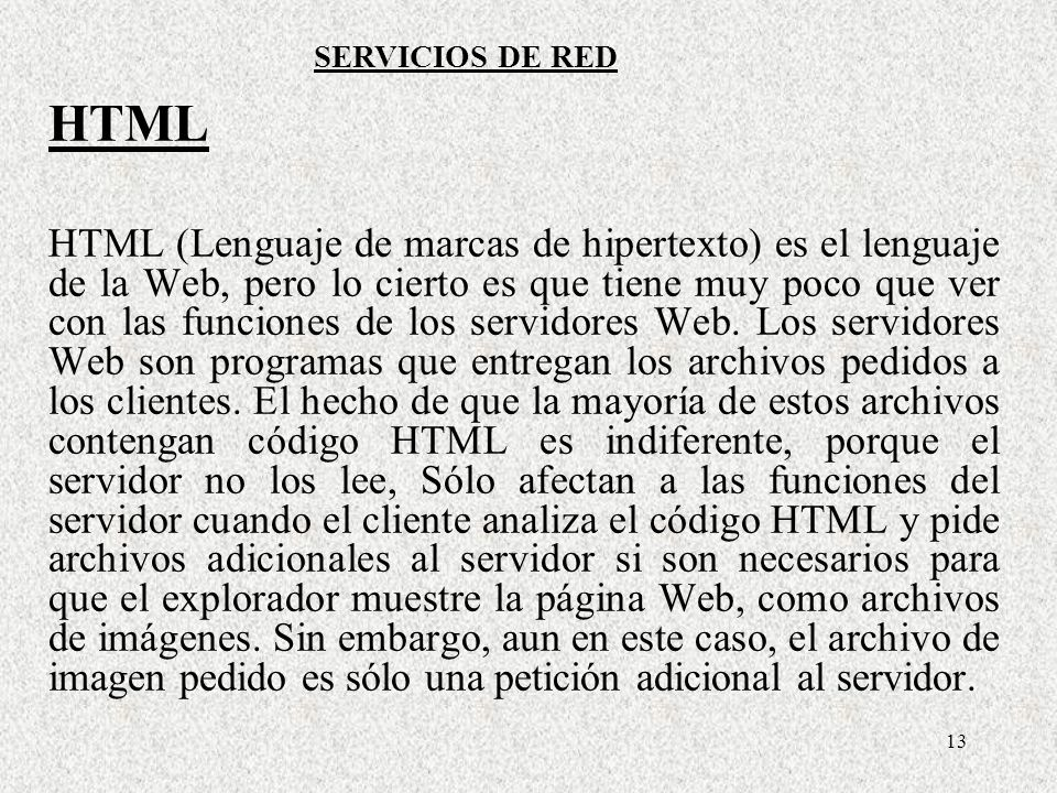 SERVICIOS DE RED HTML.