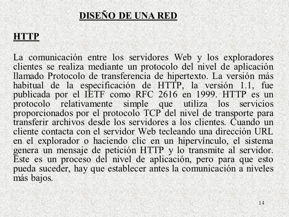 DISEÑO DE UNA RED HTTP.
