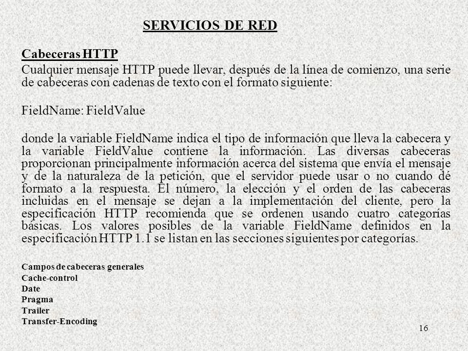 SERVICIOS DE RED Cabeceras HTTP