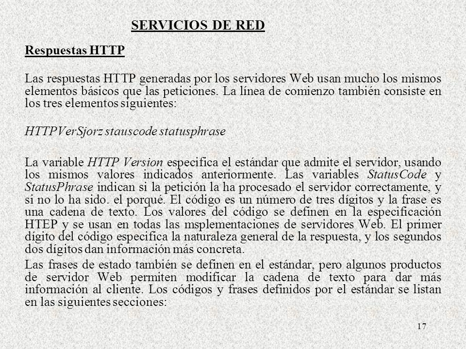 SERVICIOS DE RED Respuestas HTTP