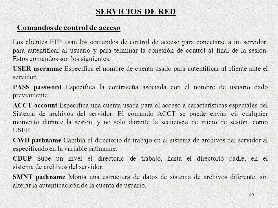 SERVICIOS DE RED Comandos de control de acceso