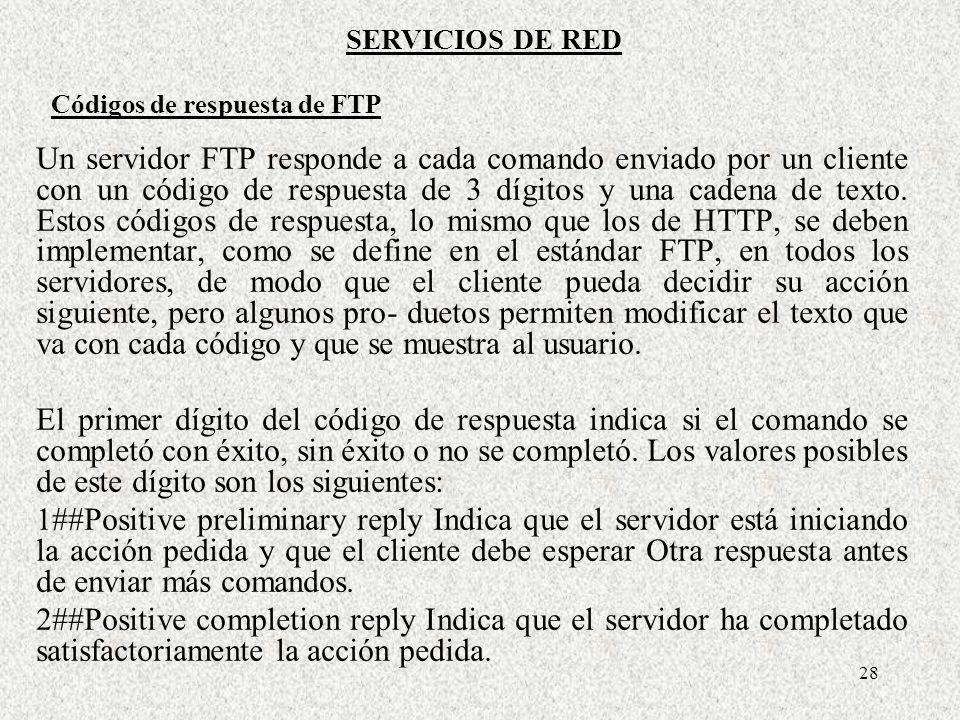 Códigos de respuesta de FTP