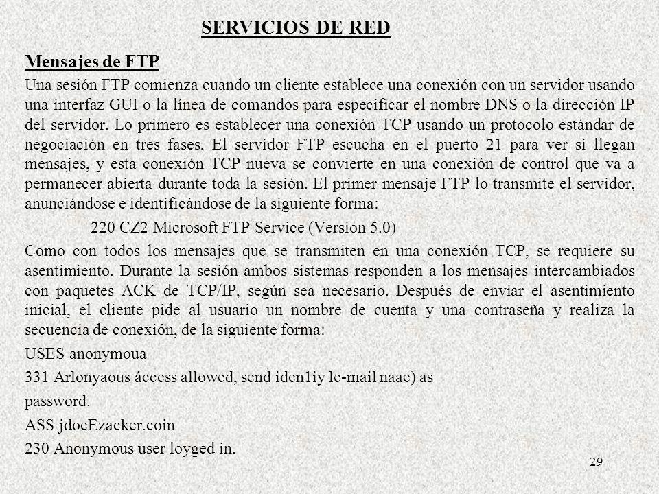 SERVICIOS DE RED Mensajes de FTP