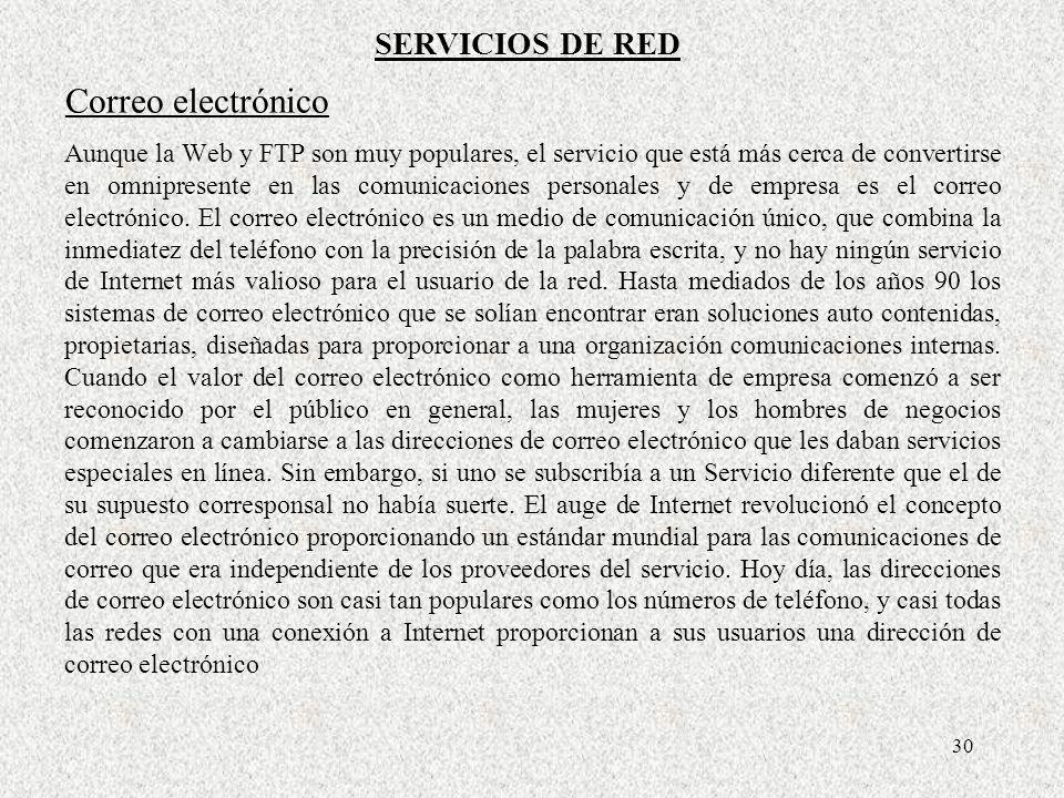 Correo electrónico SERVICIOS DE RED