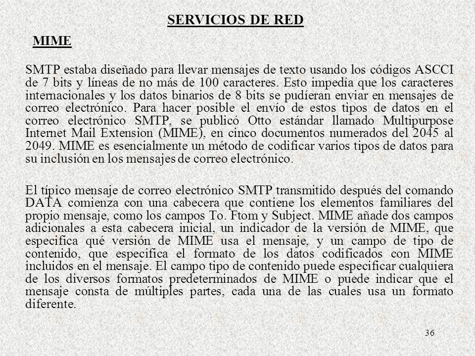 SERVICIOS DE RED MIME.