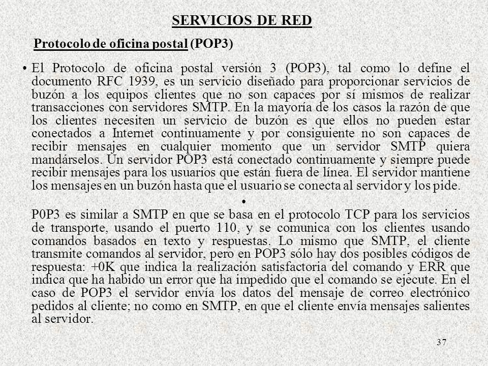 SERVICIOS DE RED Protocolo de oficina postal (POP3)
