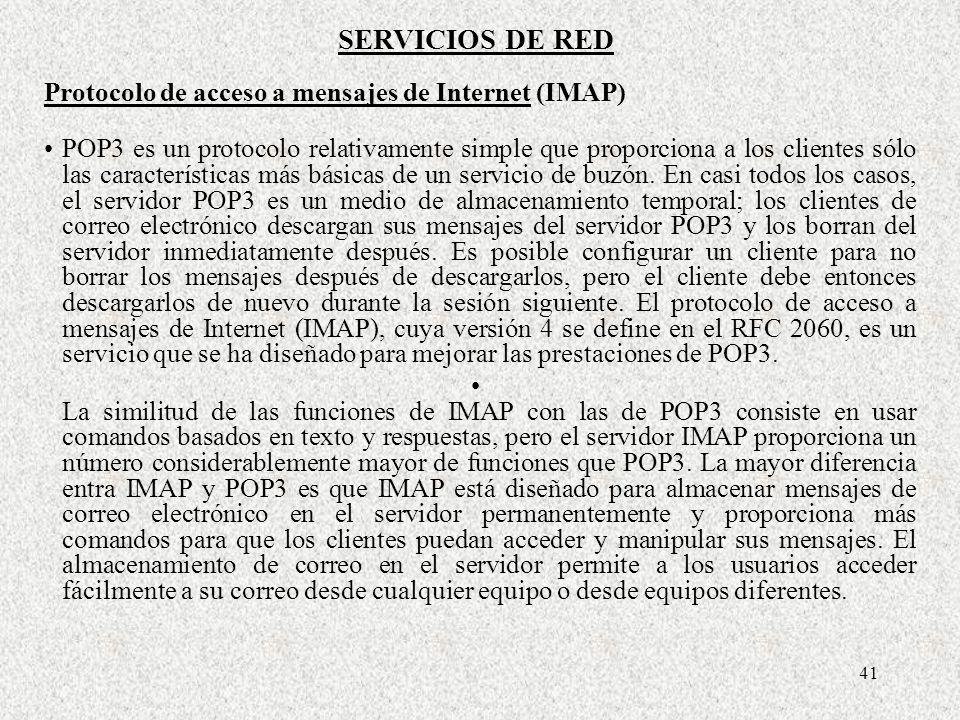 SERVICIOS DE RED Protocolo de acceso a mensajes de Internet (IMAP)