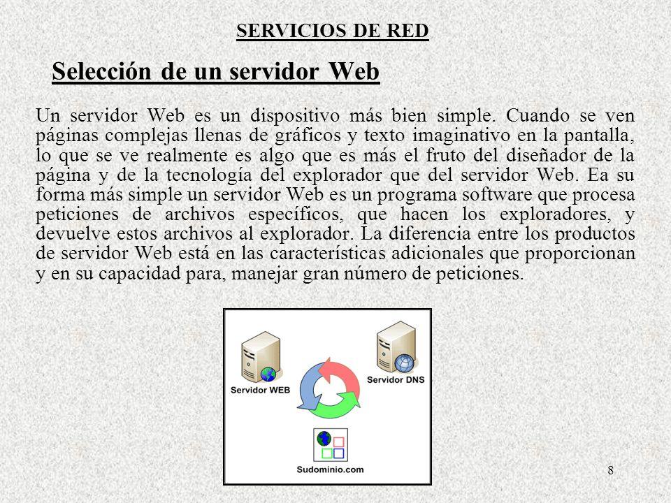 Selección de un servidor Web