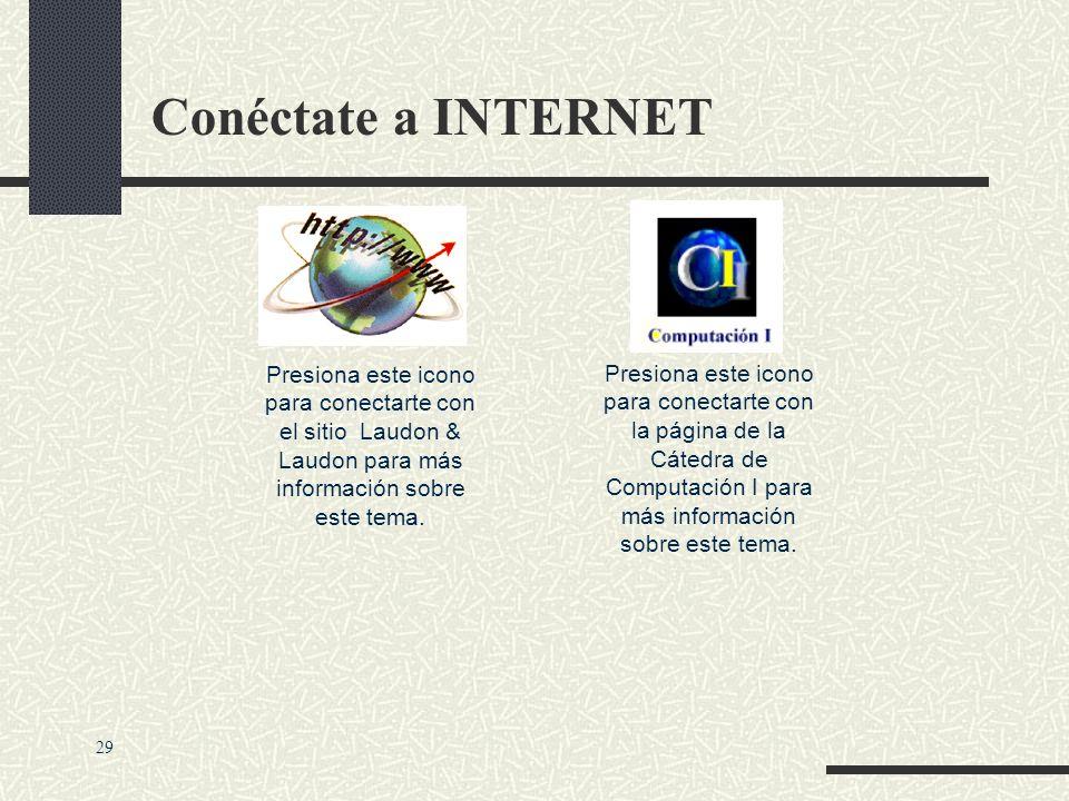 Conéctate a INTERNET Presiona este icono para conectarte con el sitio Laudon & Laudon para más información sobre este tema.