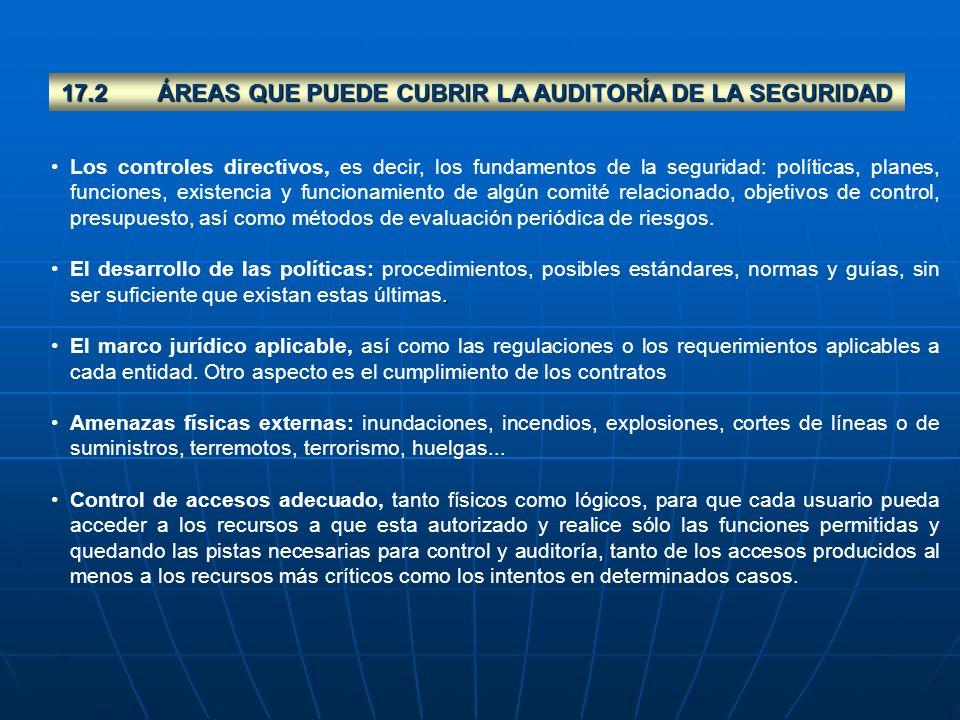 17.2 ÁREAS QUE PUEDE CUBRIR LA AUDITORÍA DE LA SEGURIDAD
