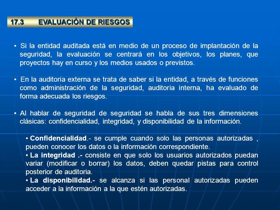 17.3 EVALUACIÓN DE RIESGOS