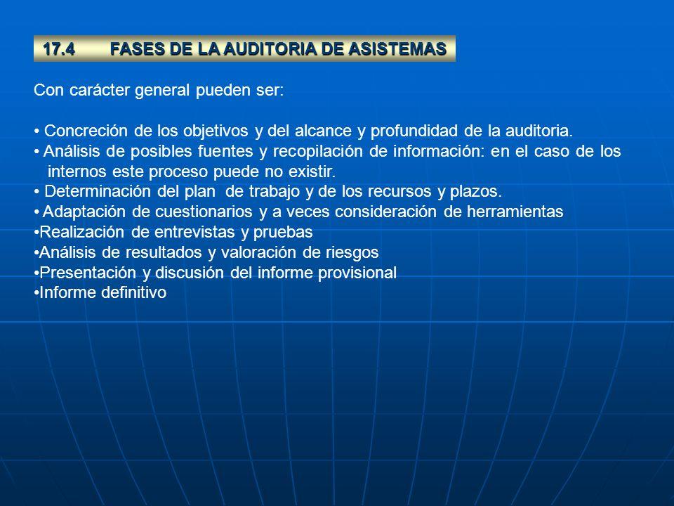 17.4 FASES DE LA AUDITORIA DE ASISTEMAS
