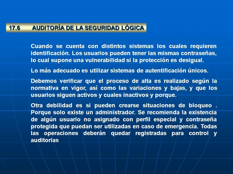 17.6 AUDITORÍA DE LA SEGURIDAD LÓGICA