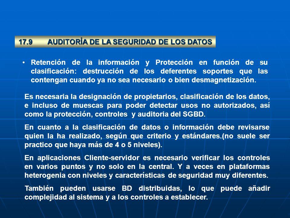17.9 AUDITORÍA DE LA SEGURIDAD DE LOS DATOS