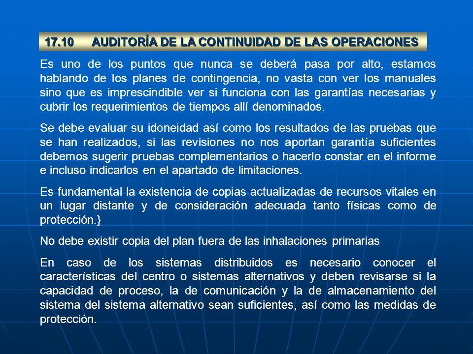 17.10 AUDITORÍA DE LA CONTINUIDAD DE LAS OPERACIONES