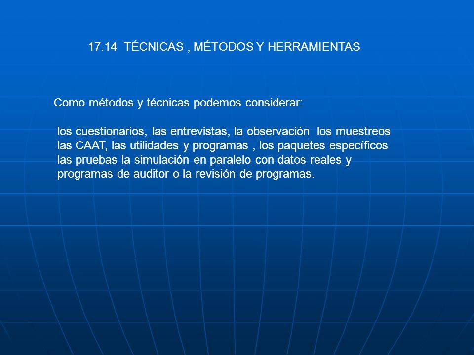 17.14 TÉCNICAS , MÉTODOS Y HERRAMIENTAS