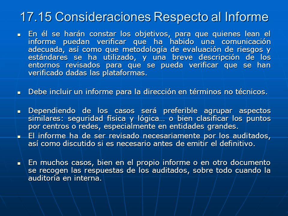 17.15 Consideraciones Respecto al Informe