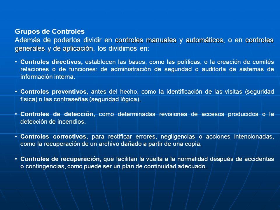 Grupos de Controles Además de poderlos dividir en controles manuales y automáticos, o en controles generales y de aplicación, los dividimos en: