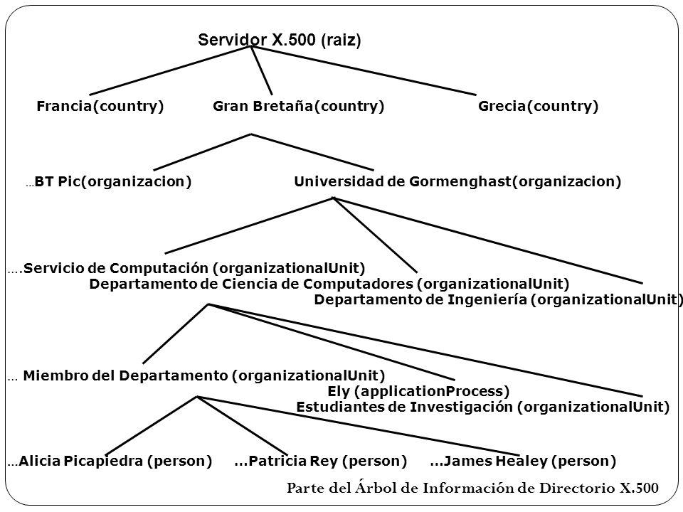 Parte del Árbol de Información de Directorio X.500