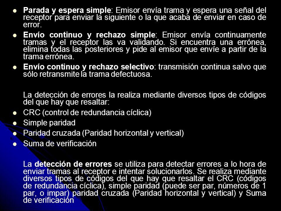 Parada y espera simple: Emisor envía trama y espera una señal del receptor para enviar la siguiente o la que acaba de enviar en caso de error.