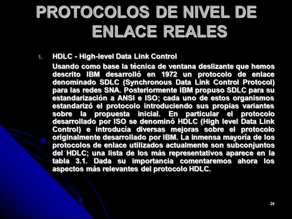 PROTOCOLOS DE NIVEL DE ENLACE REALES