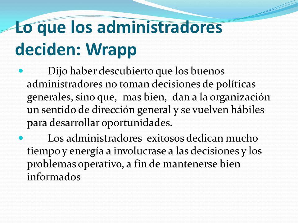 Lo que los administradores deciden: Wrapp