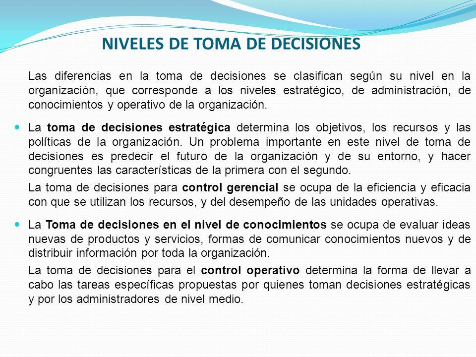 NIVELES DE TOMA DE DECISIONES