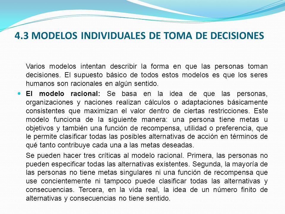 4.3 MODELOS INDIVIDUALES DE TOMA DE DECISIONES