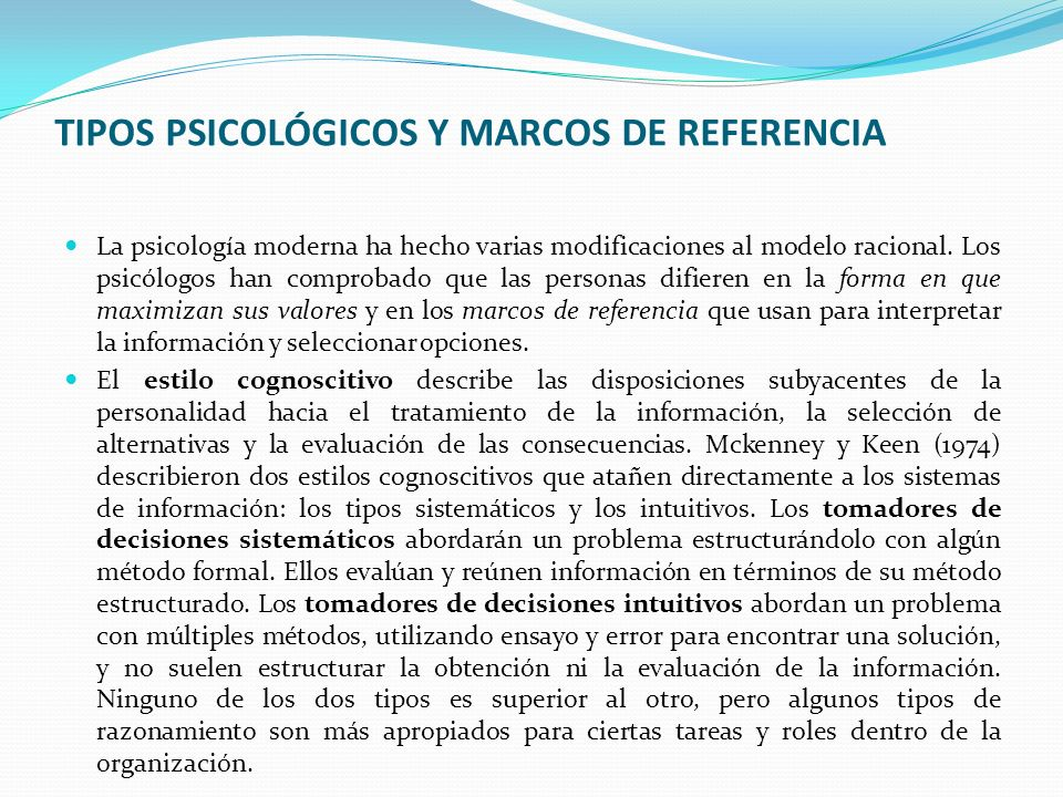 TIPOS PSICOLÓGICOS Y MARCOS DE REFERENCIA
